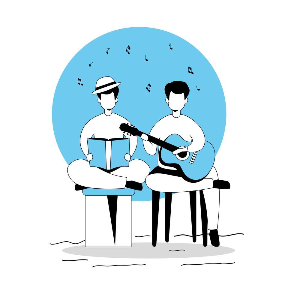 Männer mit Gitarre und Buch isolierte Ikone vektor