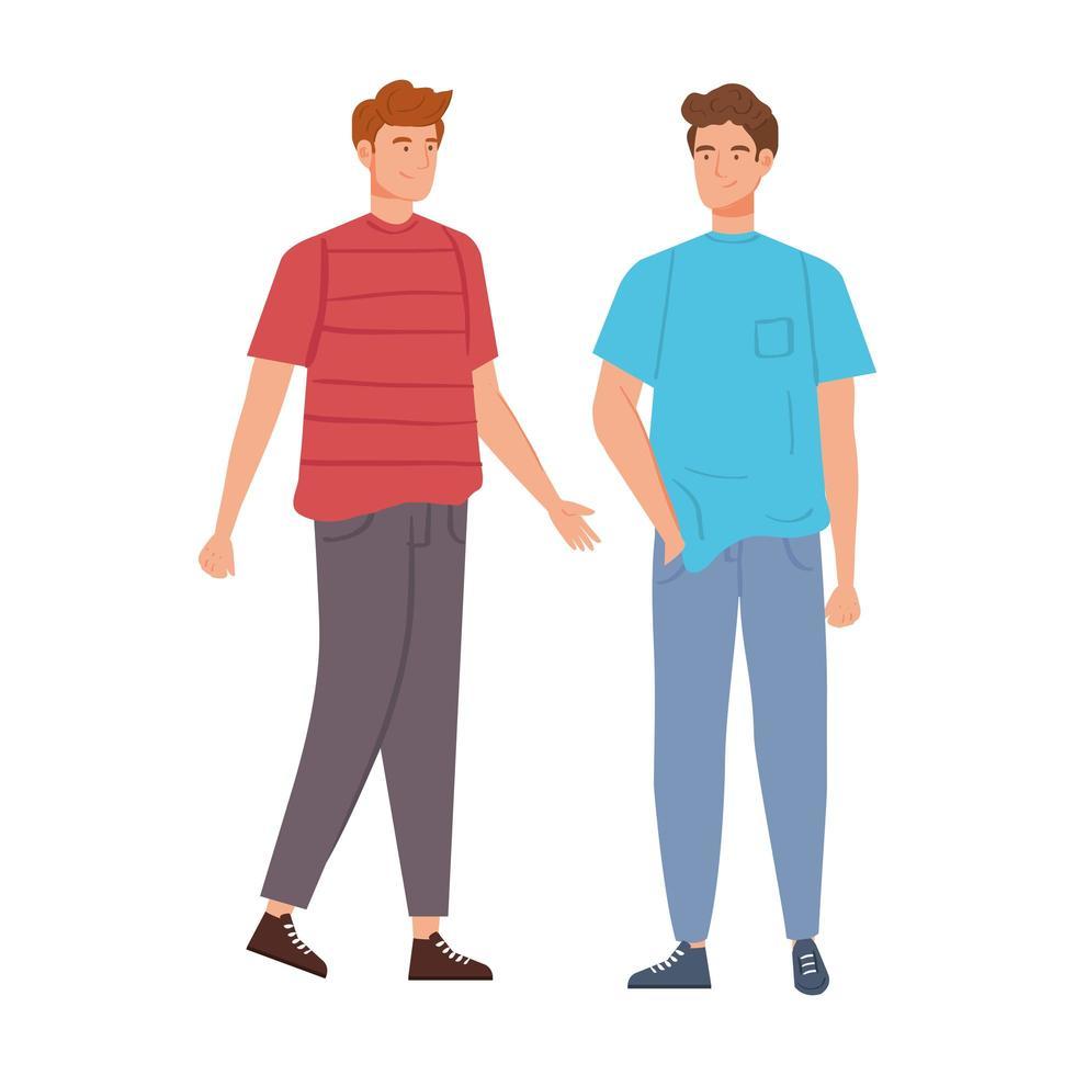 grupp av unga män avatar karaktärer vektor