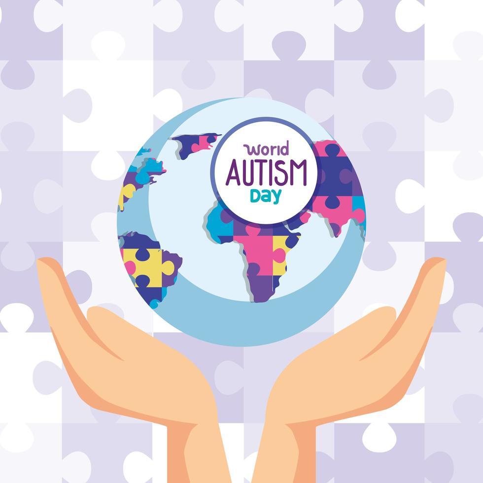 världens autismdag och världsplanet med händer vektor