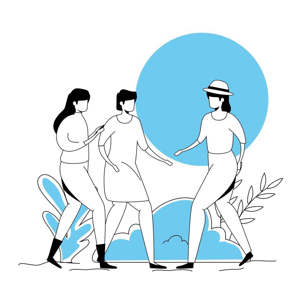 Gruppe von Frauen Avatar Charakter Icons vektor