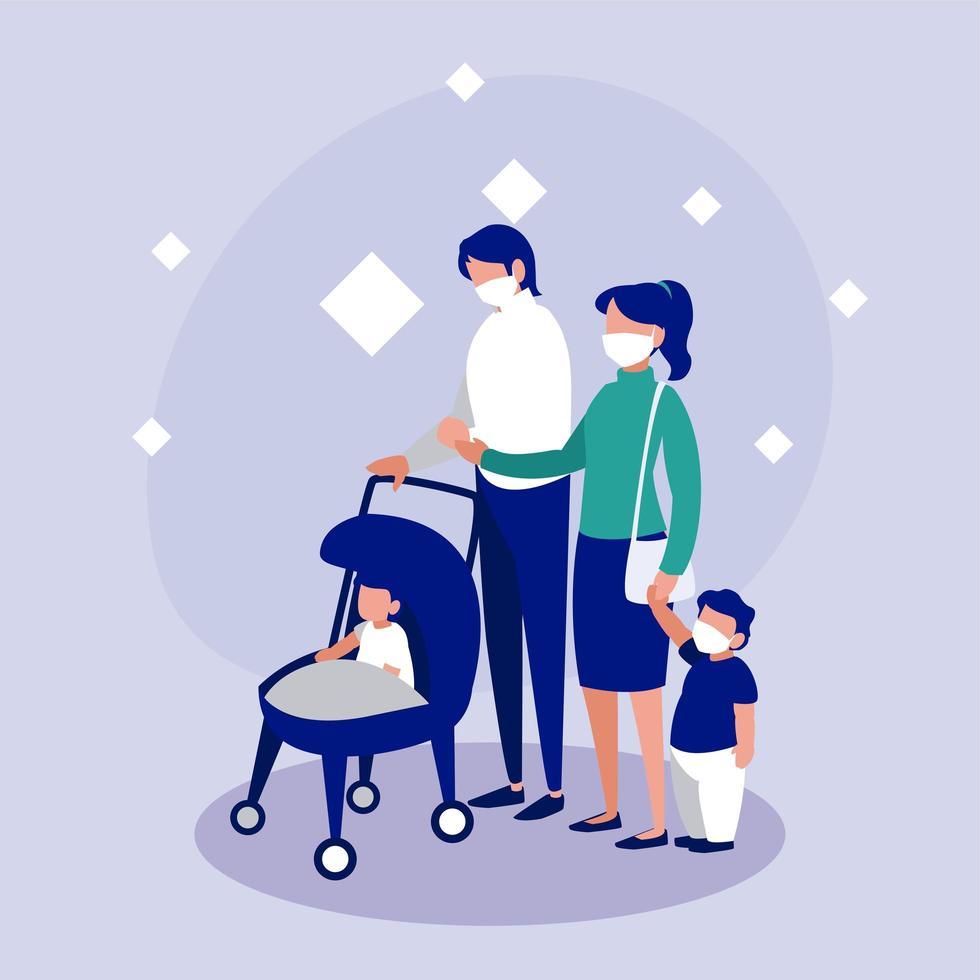 familj med masker framför cirkelvektordesign vektor