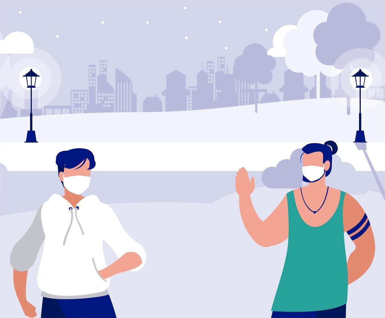Männer mit Masken außerhalb am Parkvektordesign vektor