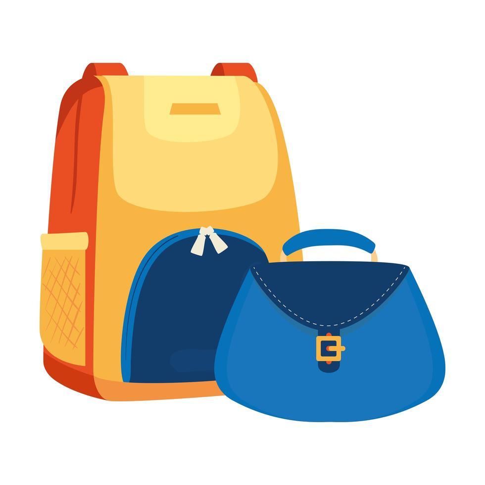 Rucksack mit Frauentasche isolierte Ikone vektor