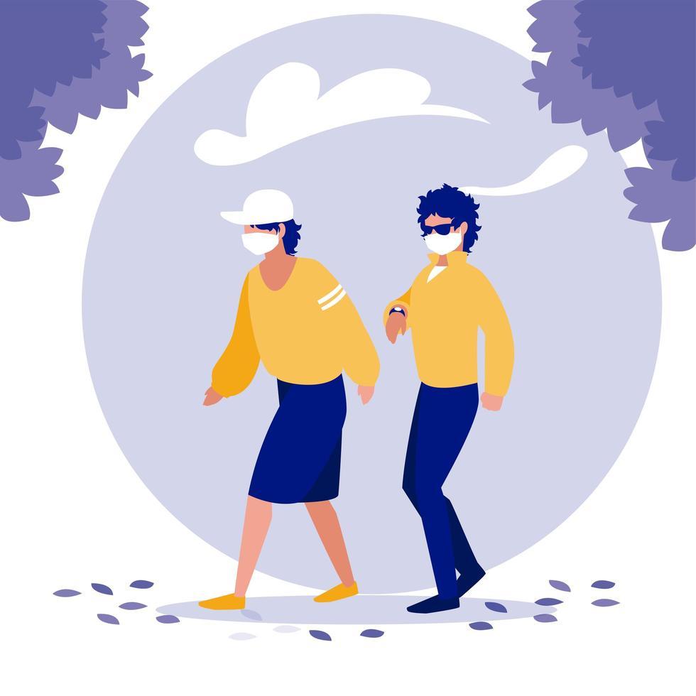 Männer mit Masken und Bäumen außerhalb des Vektordesigns vektor