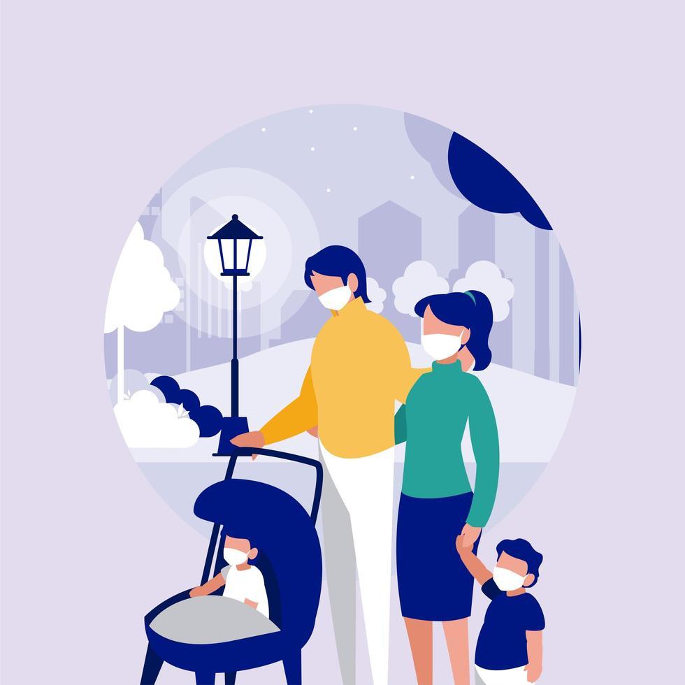 familj med masker på parkerar framför stadsvektordesign vektor