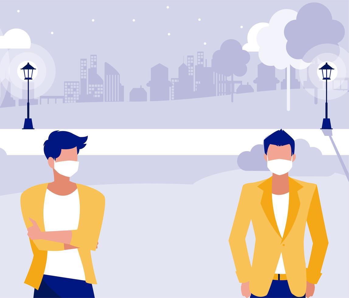 män med masker utanför på parkvektordesign vektor