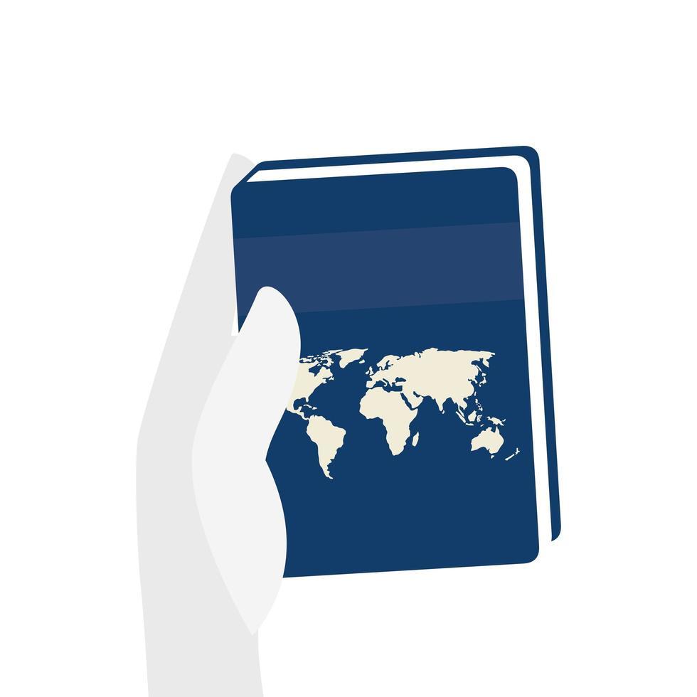 hand med atlas textbok isolerad ikon vektor