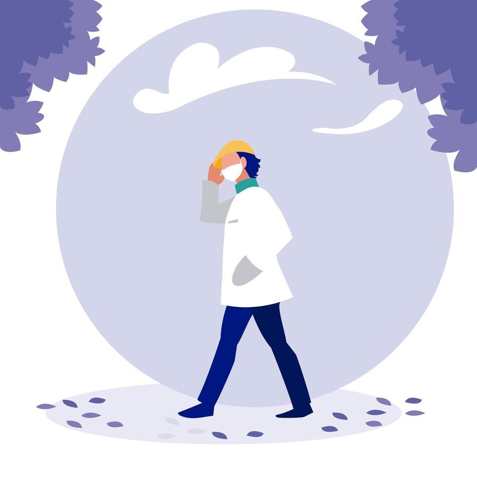 Mann mit Maske und Bäumen außerhalb des Vektordesigns vektor