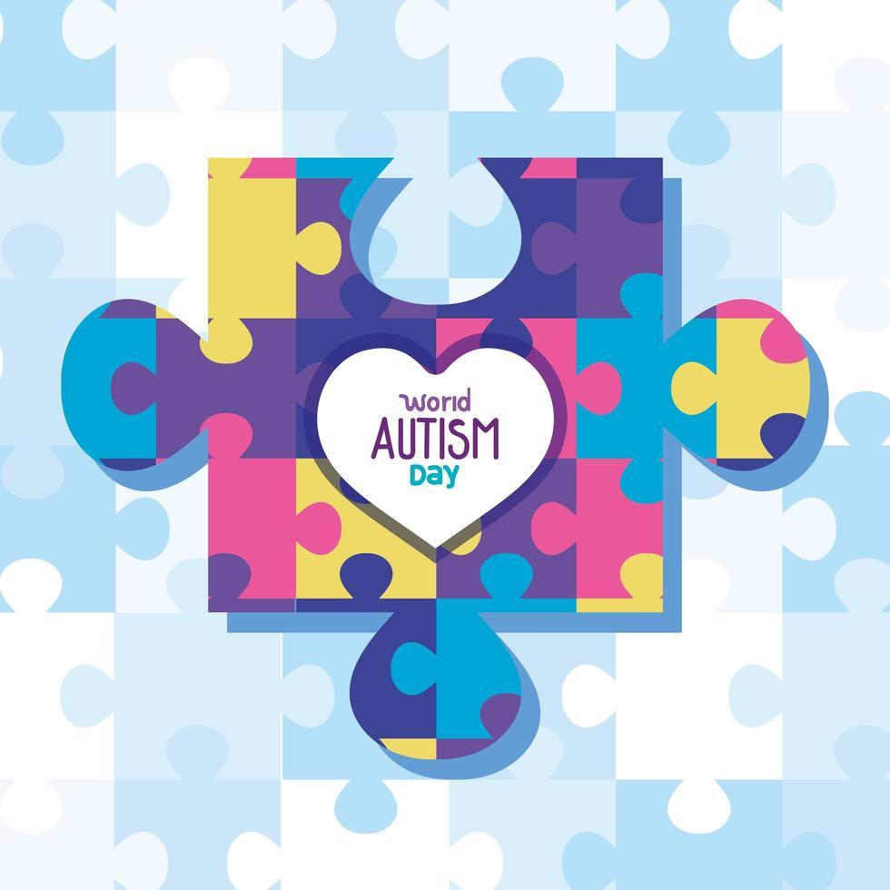 världens autismdag med pusselbitar vektor