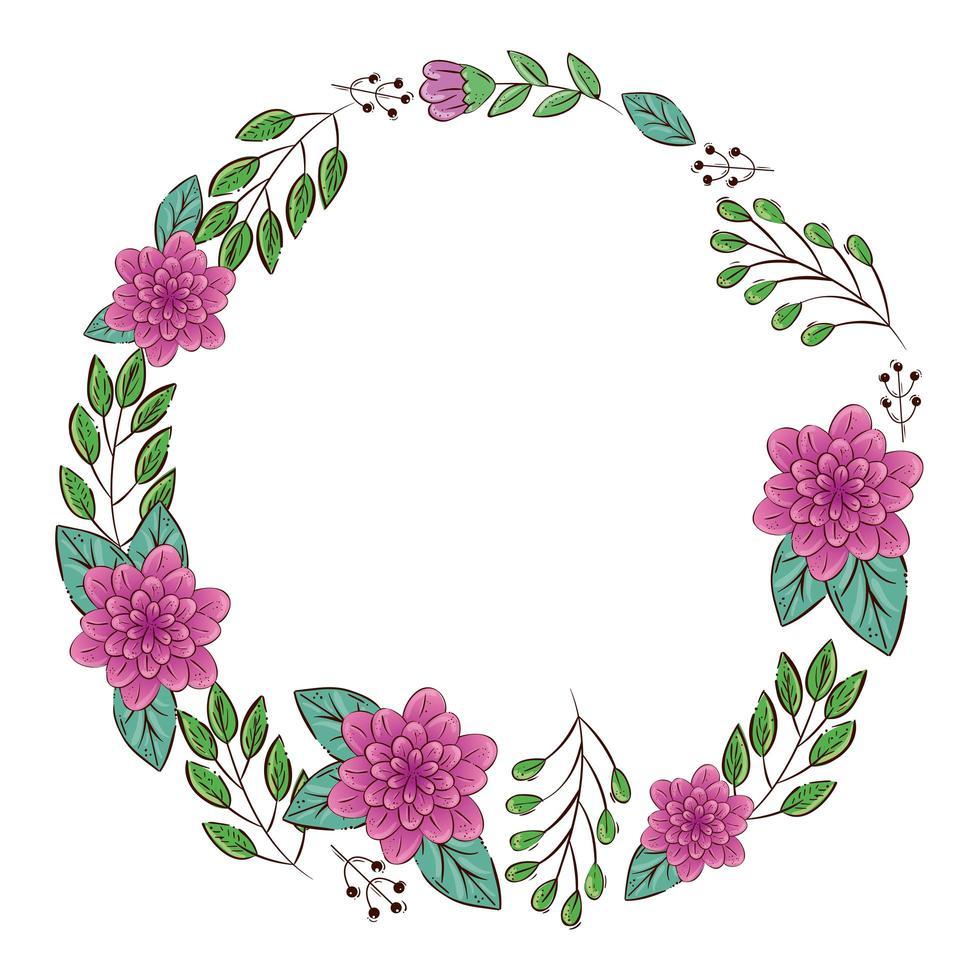 Rahmen kreisförmig von Blumen lila mit Zweigen und Blättern vektor