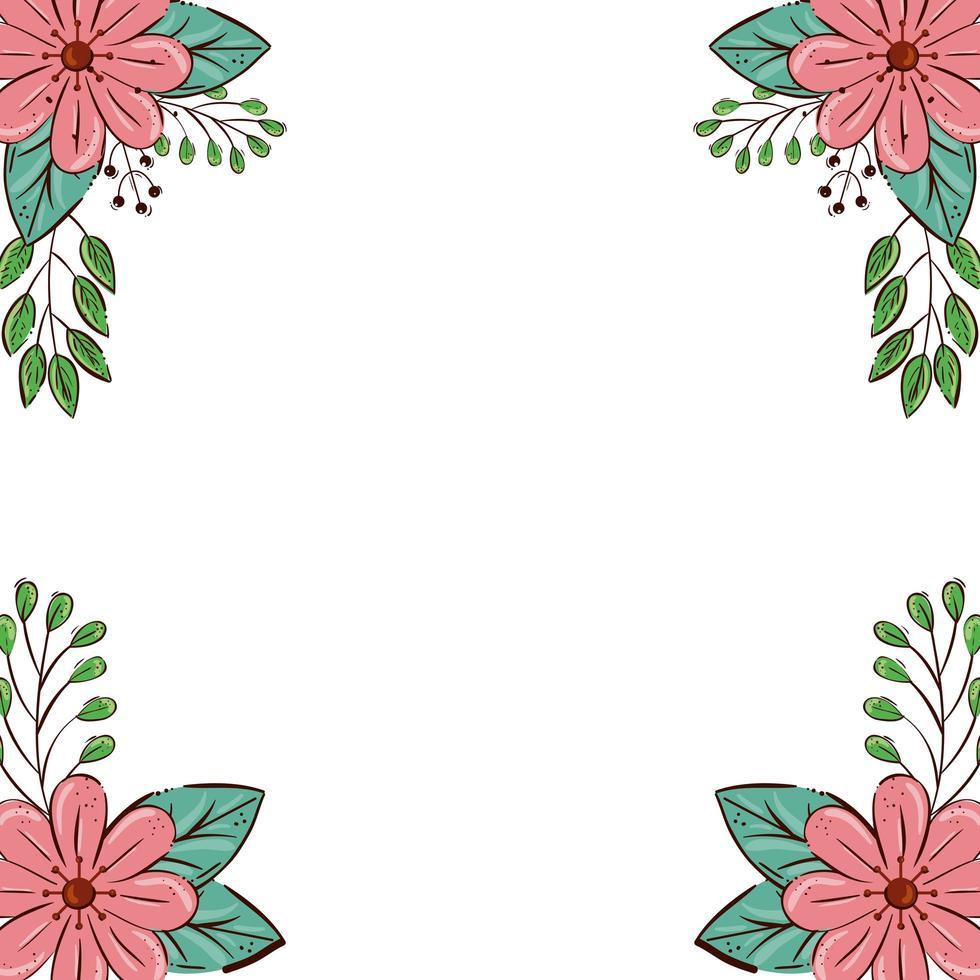 Rahmen der Blumen rosa Farbe mit Zweigen und Blättern natürlich vektor