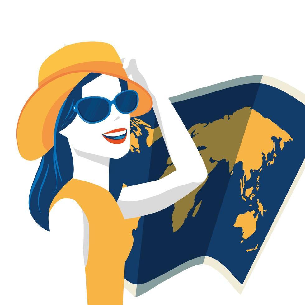 kvinna med sommarhatt och papperskarta vektor