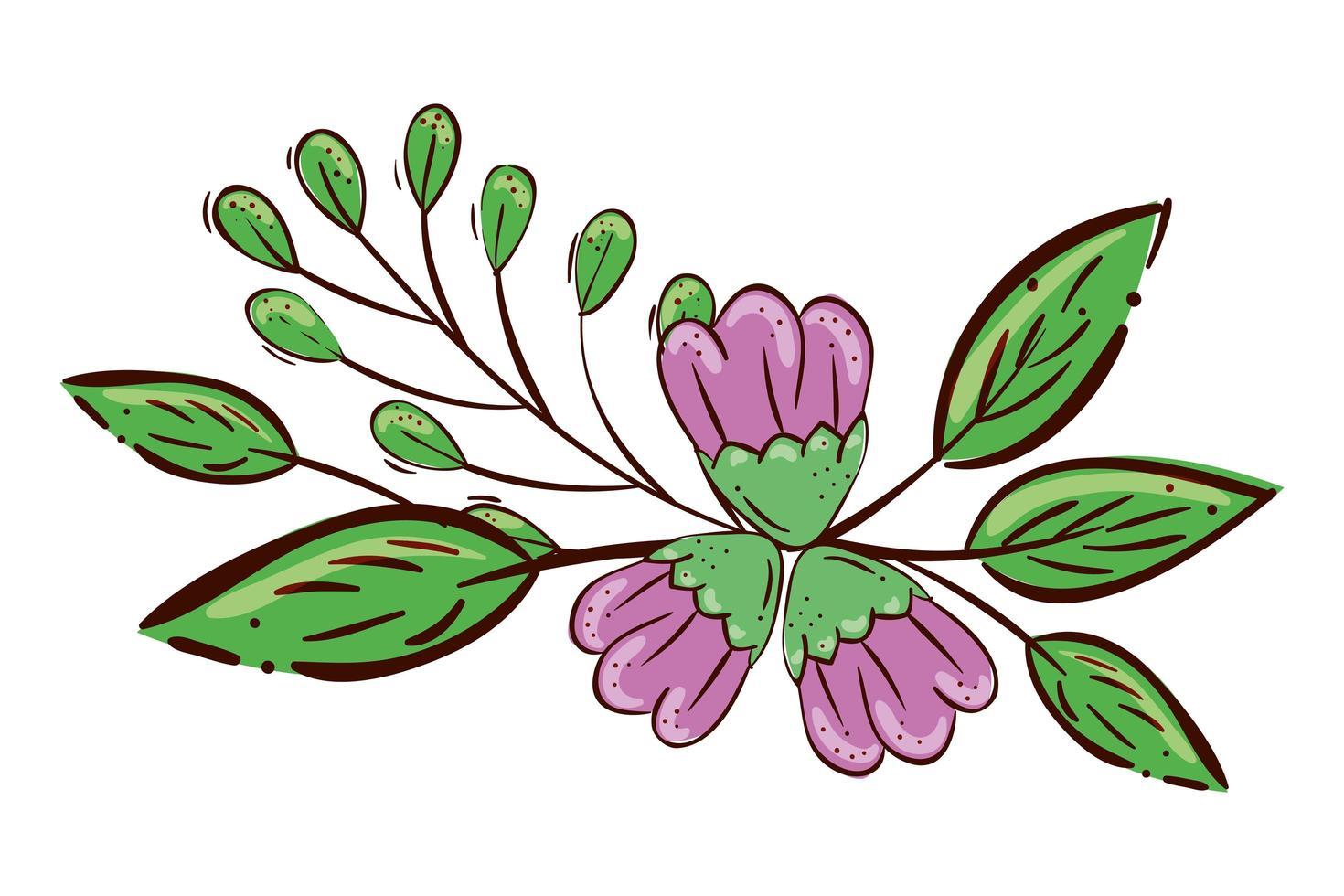 niedliche Blumen lila mit Zweigen und Blättern isolierte Ikone vektor