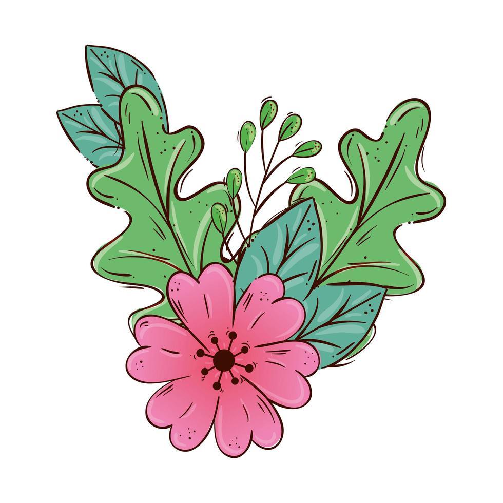 niedliche Blume rosa mit Zweig und Blätter lokalisierte Ikone vektor