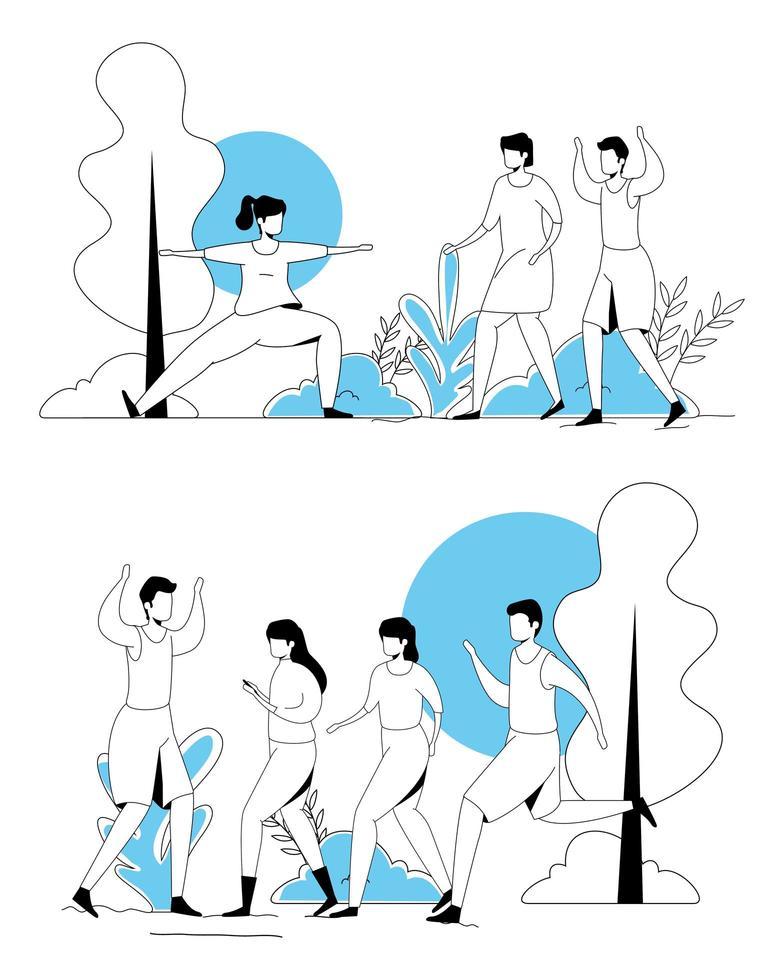 Szenen von Menschen, die Sport treiben vektor
