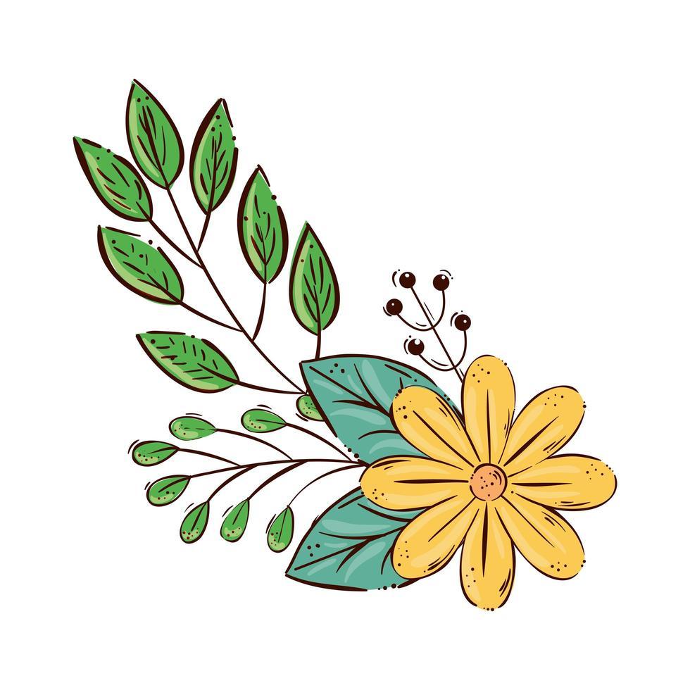 niedliche gelbe Farbe der Blume mit Zweigen und Blättern isolierte Ikone vektor