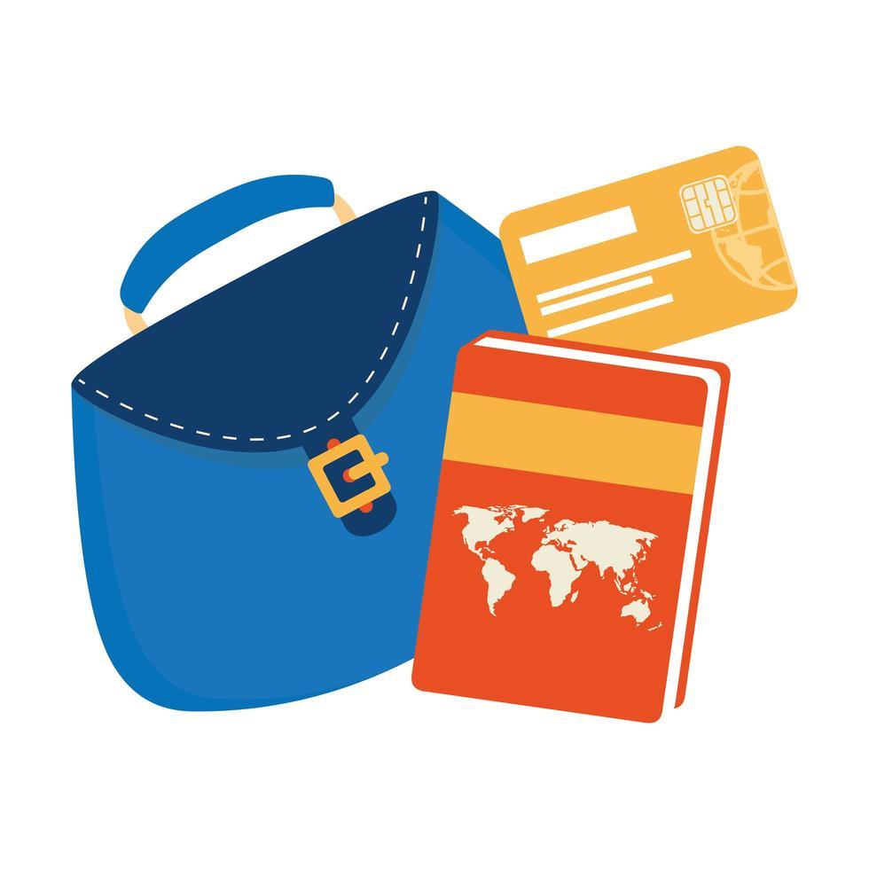 damväska med atlasbok och kreditkort vektor