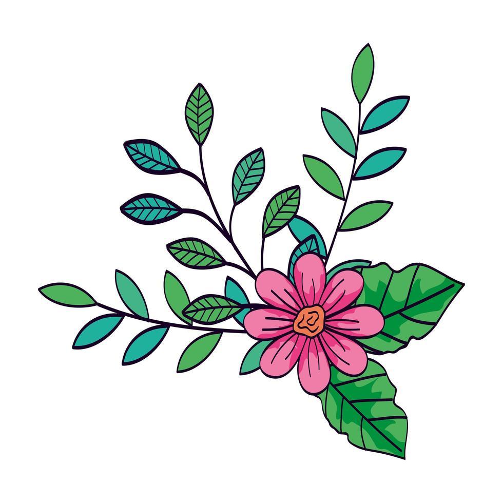 söt blomma rosa färg med grenar och blad vektor