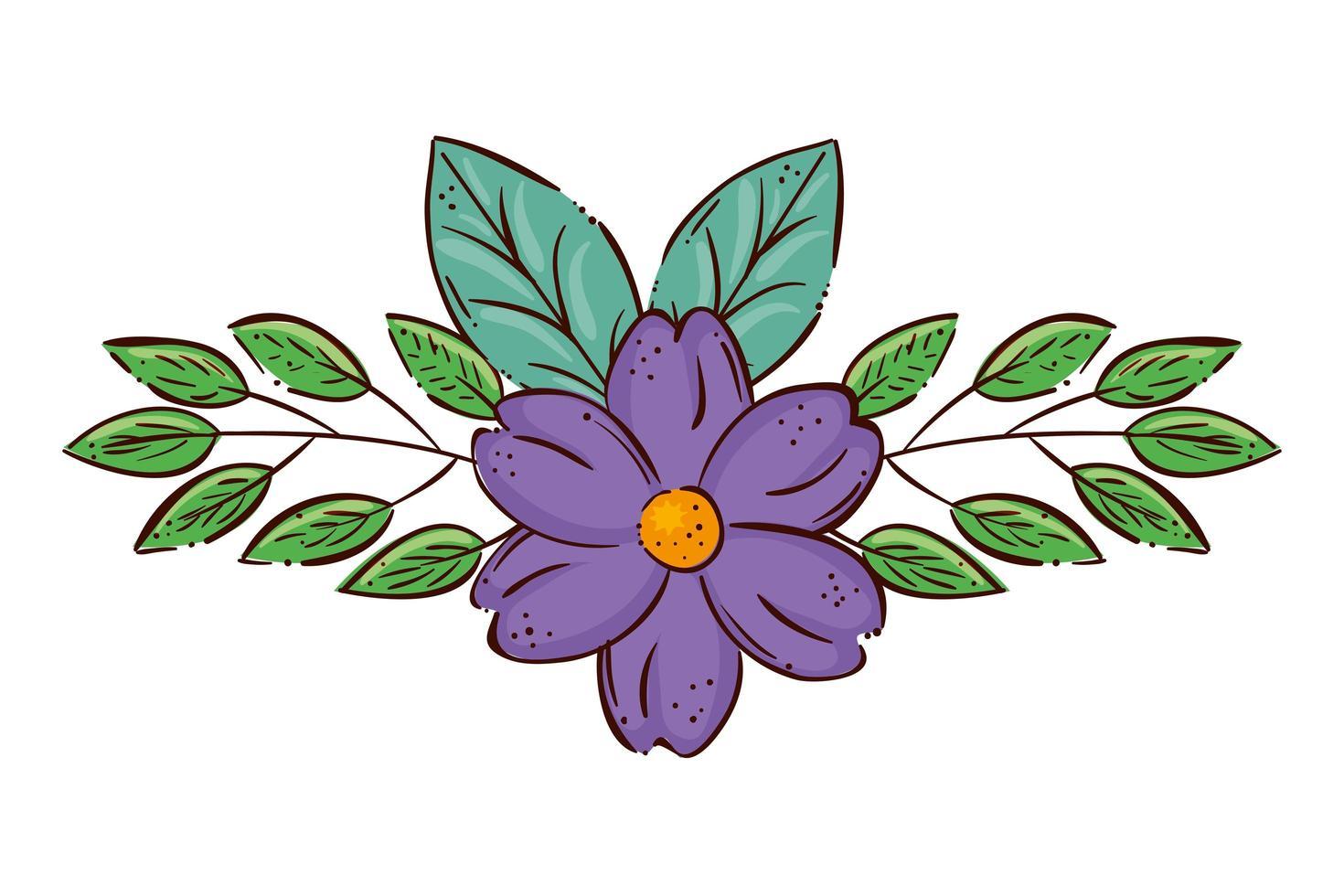 süße Blume lila mit Zweigen und Blättern vektor