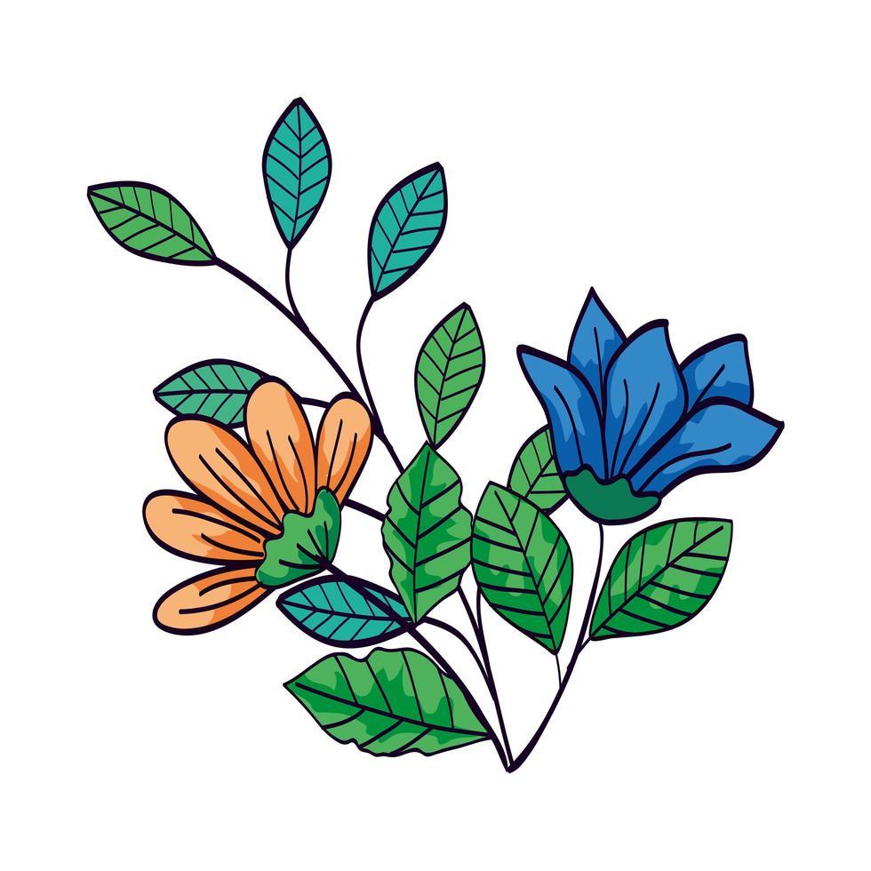 süße Blumen blaue und gelbe Farbe mit Zweigen und Blättern vektor