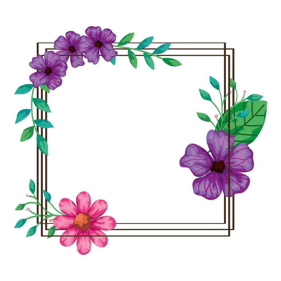 quadratischer Rahmen der Blumen lila und rosa Farbe vektor
