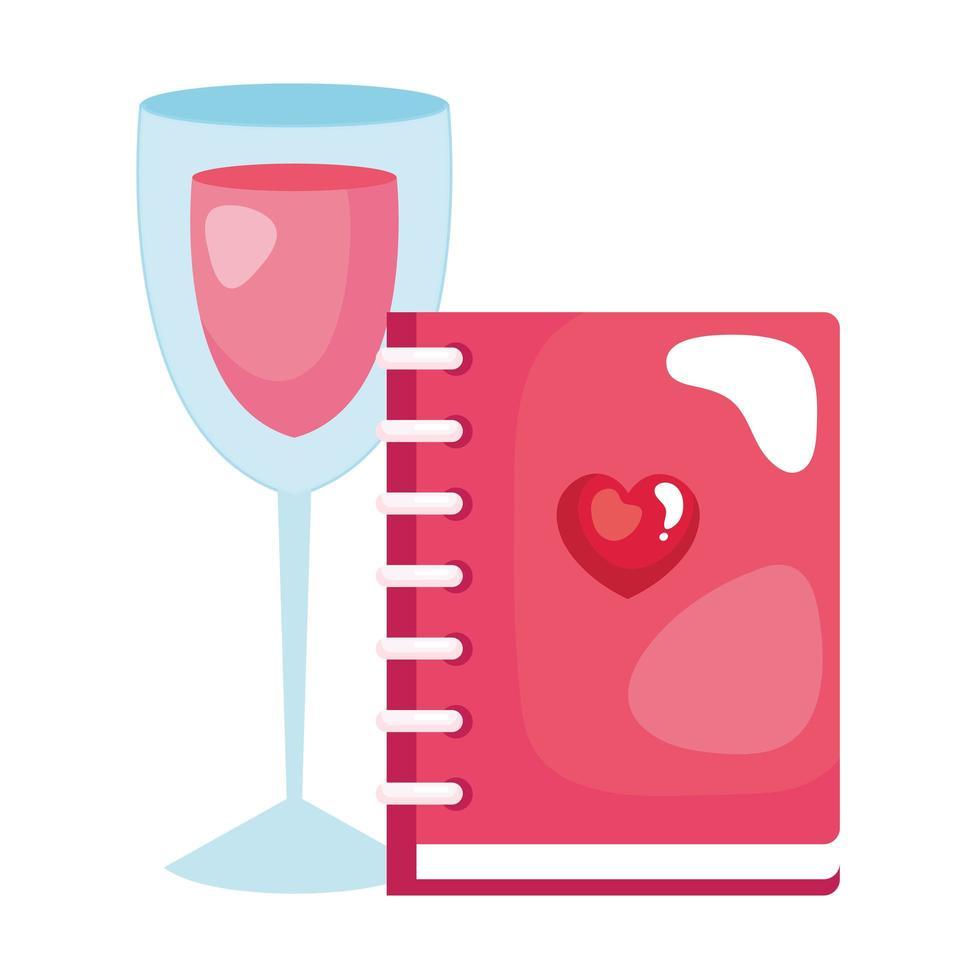 Notizbuch mit Herz und Tasse Glas mit Wein vektor