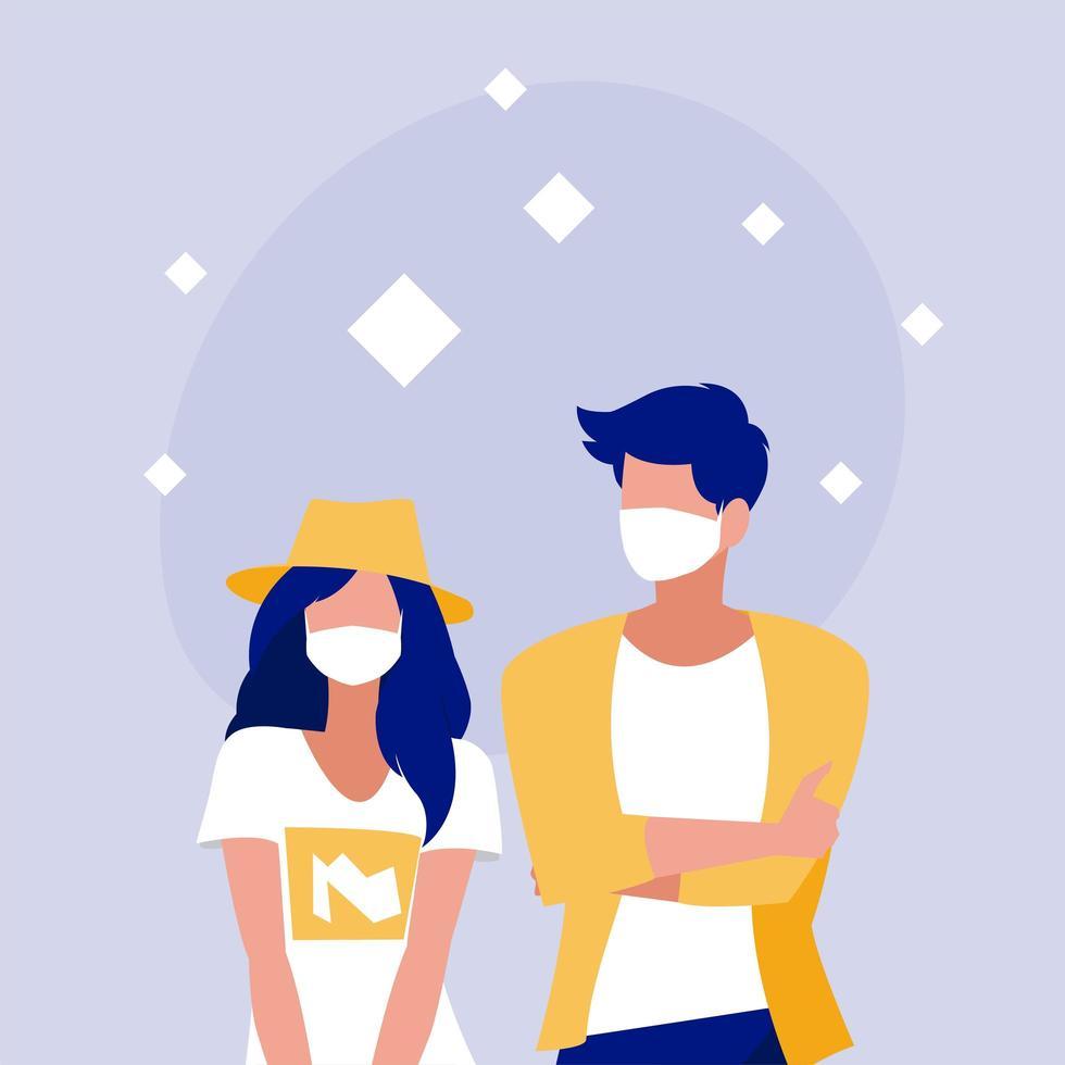 Frau und Mann mit Maskenvektorentwurf vektor