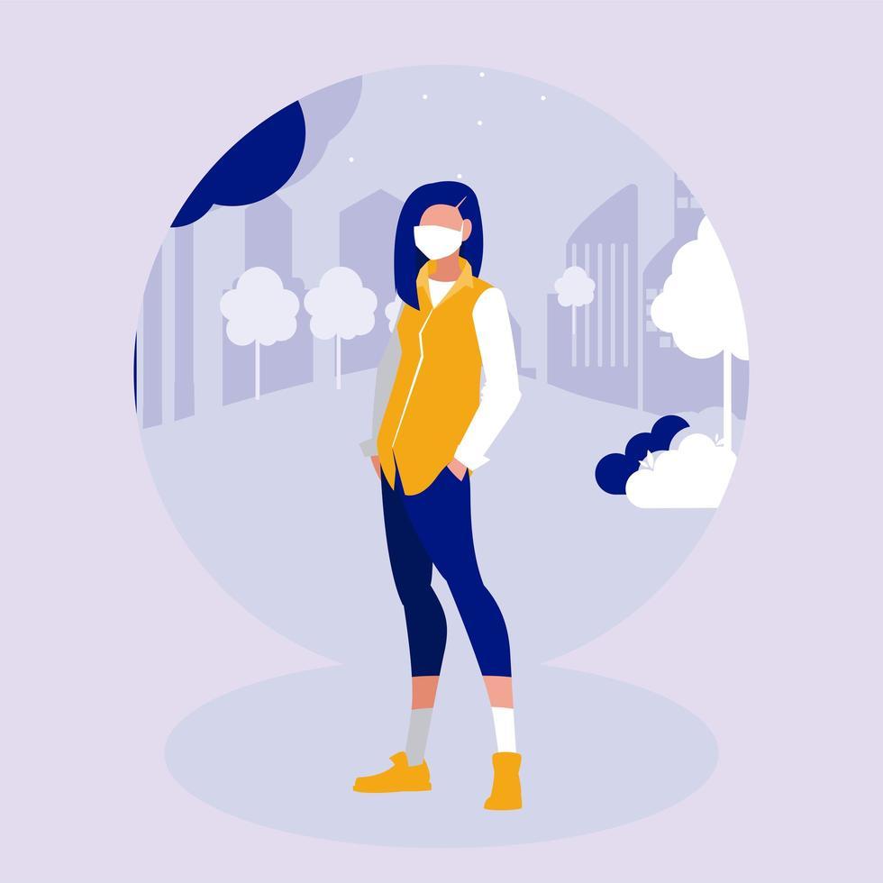 kvinna med mask på parkvektordesign vektor