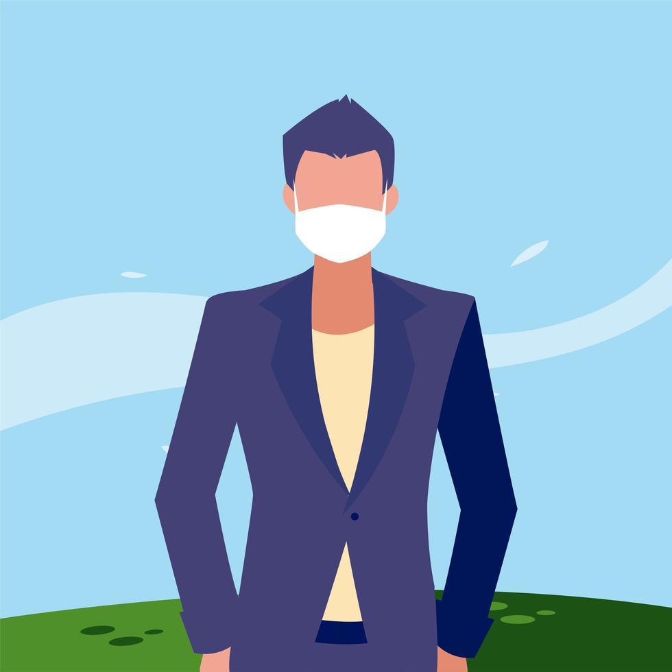 Mann Avatar mit Maske außerhalb Vektor-Design vektor