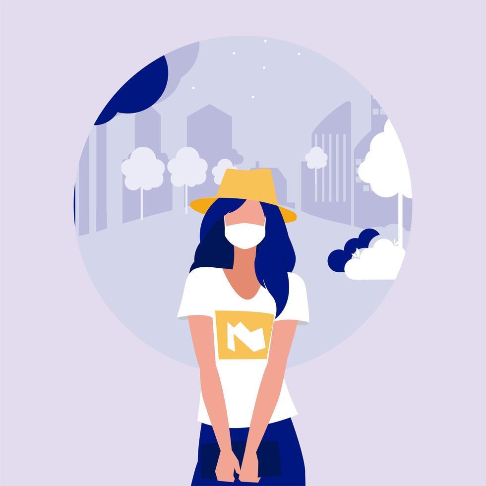 Frau mit Maske am Parkvektordesign vektor
