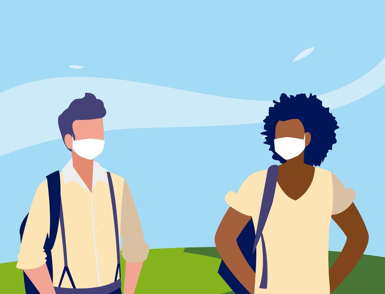 Männeravatare mit Masken außerhalb des Vektordesigns vektor