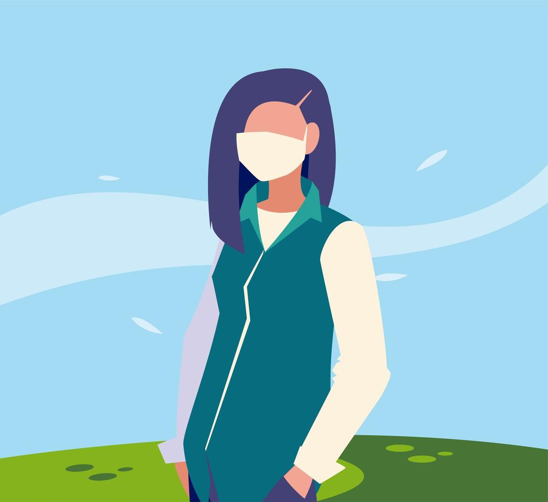 Frau Avatar mit Maske außerhalb Vektor-Design vektor