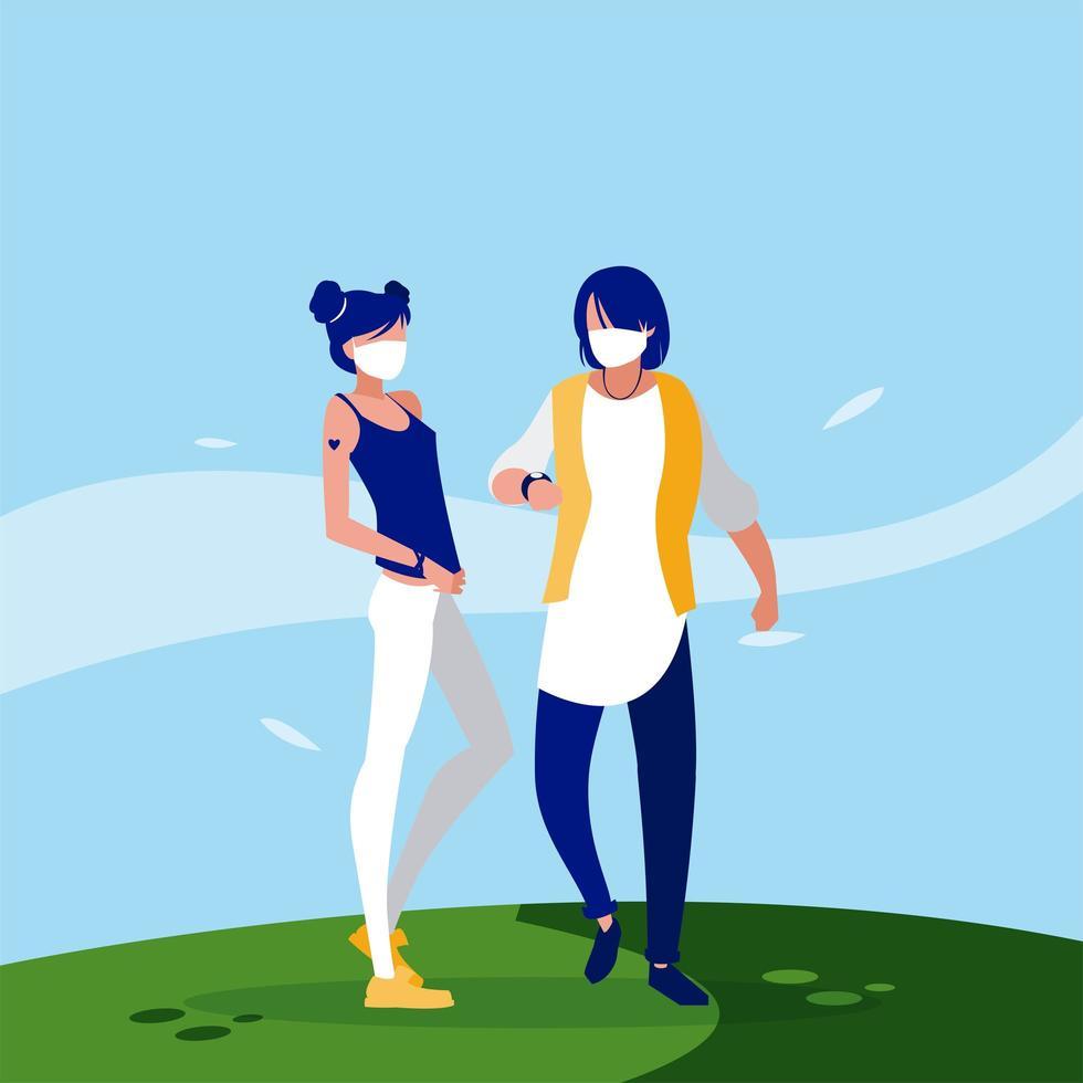 Frauen- und Mannavatare mit Masken außerhalb des Vektordesigns vektor