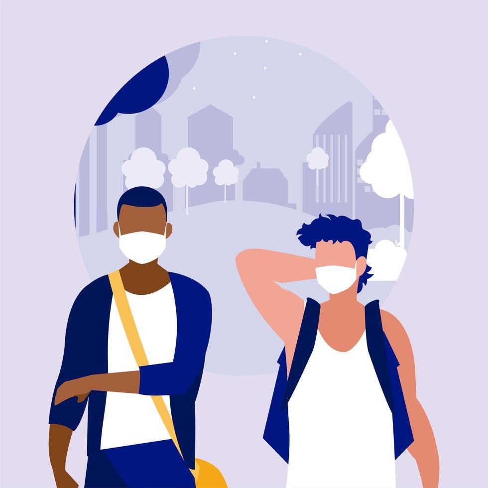 Männer mit Masken am Parkvektordesign vektor