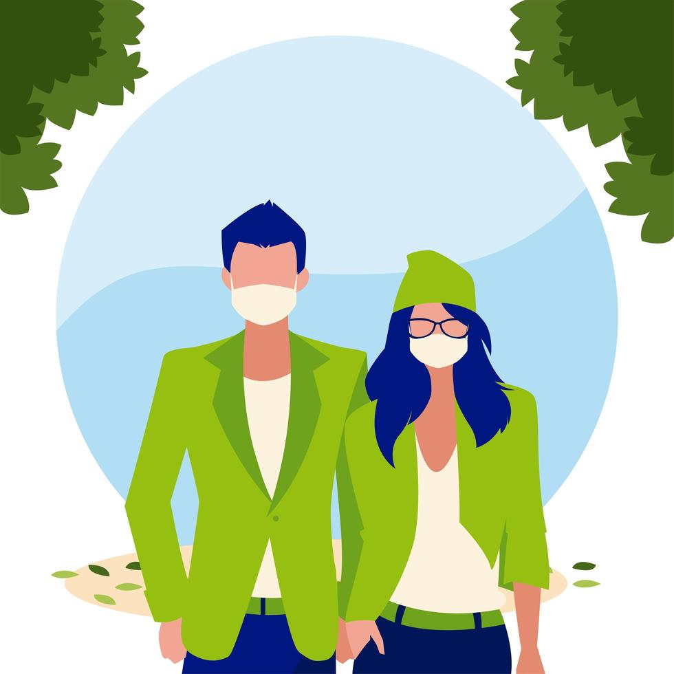 Frau und Mann Avatar mit Maske außerhalb Vektor-Design vektor