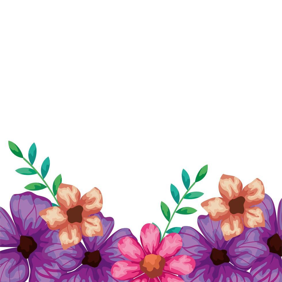 süße Blumen rosa und lila mit Blättern vektor