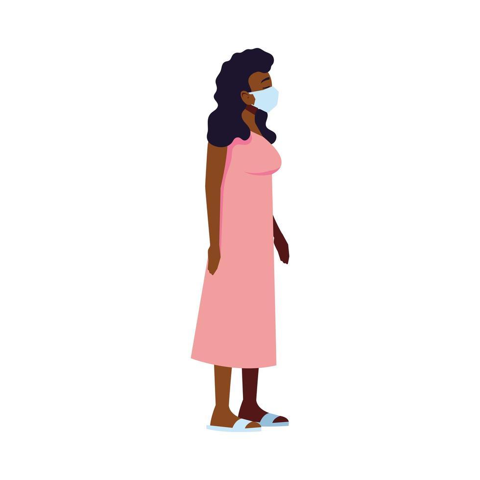 Frau mit Maskenvektorentwurf vektor