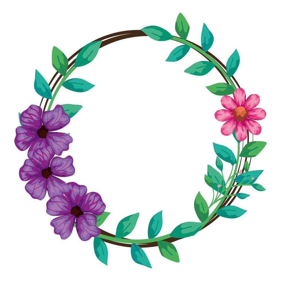 Rahmen kreisförmig von Blumen mit Zweigen und Blättern vektor