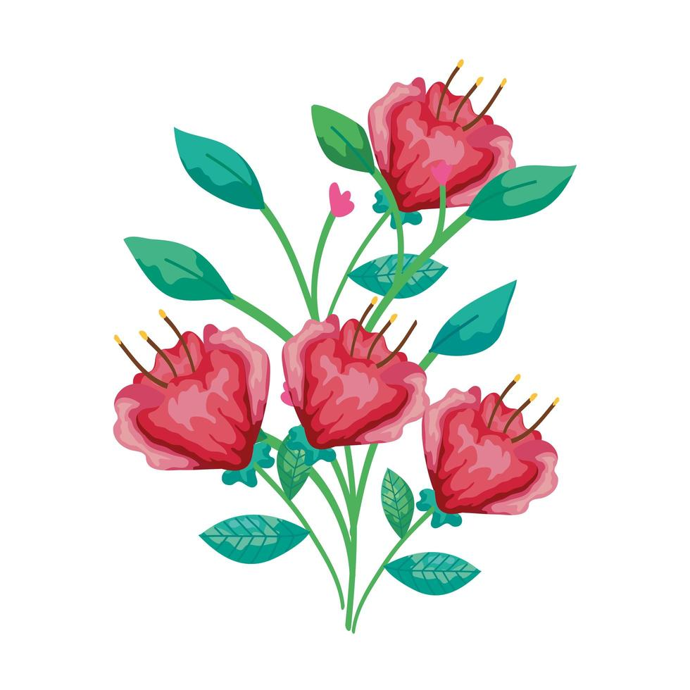 niedliche Blumen rot mit Zweigen und Blättern isolierte Ikone vektor