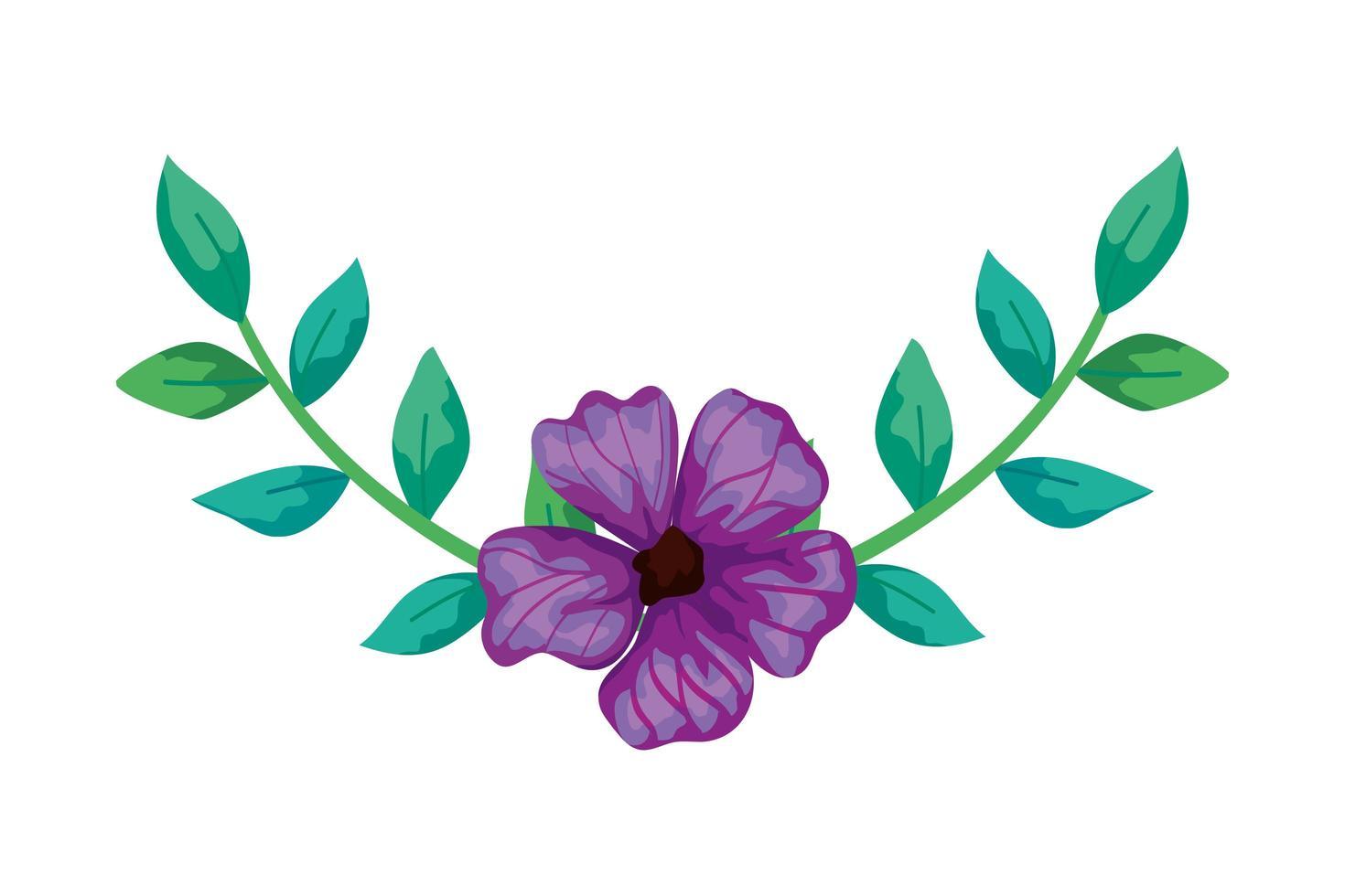 söt blomma lila med grenar och blad isolerad ikon vektor