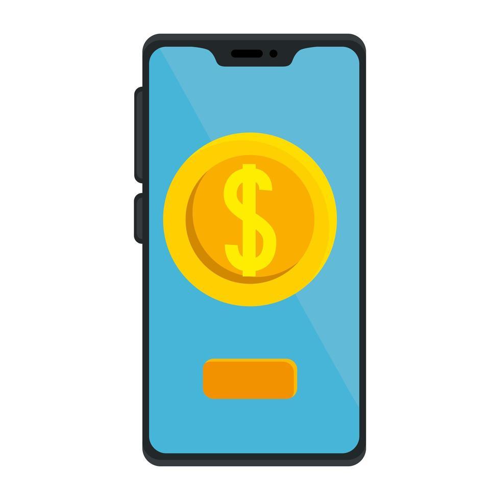 isolierte Geldmünze innerhalb des Smartphone-Vektorentwurfs vektor