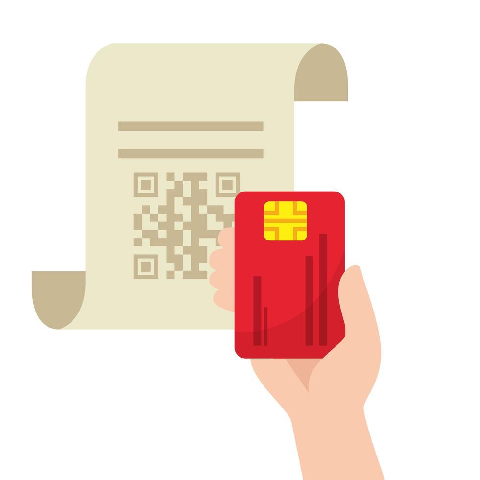 qr Code über Quittungspapier und Kreditkartenvektorentwurf vektor