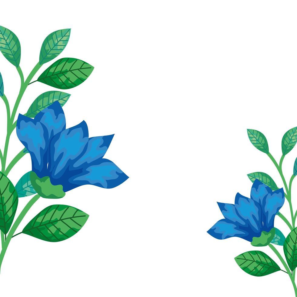 niedliche Blumen blau mit Zweigen und Blättern isolierte Ikone vektor