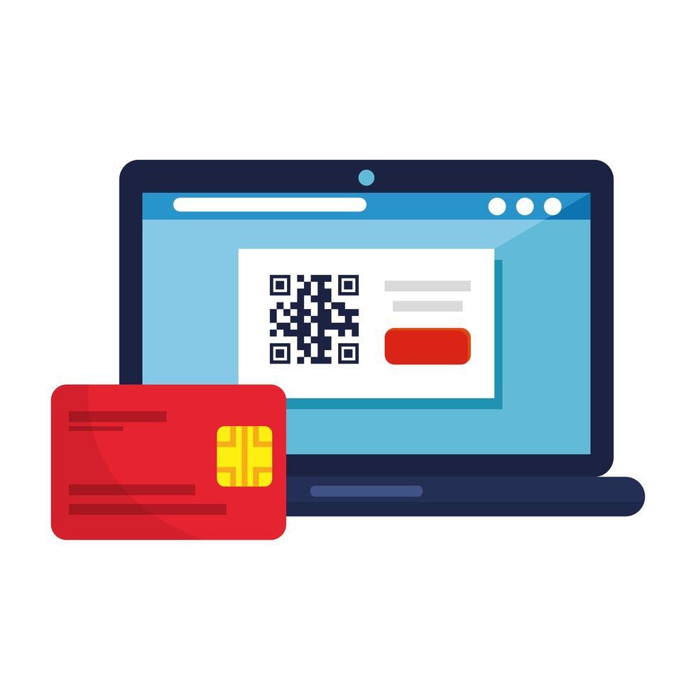 QR-Code im Laptop- und Kreditkartenvektorentwurf vektor