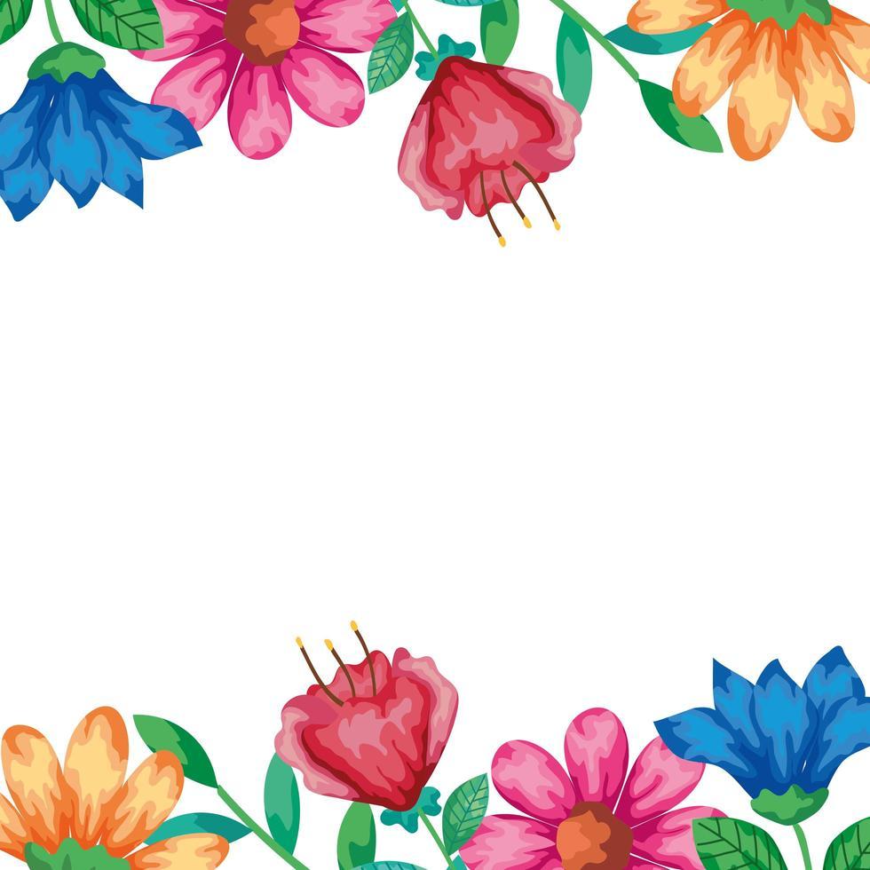 Blumenrahmen mit Zweigen und Blättern vektor