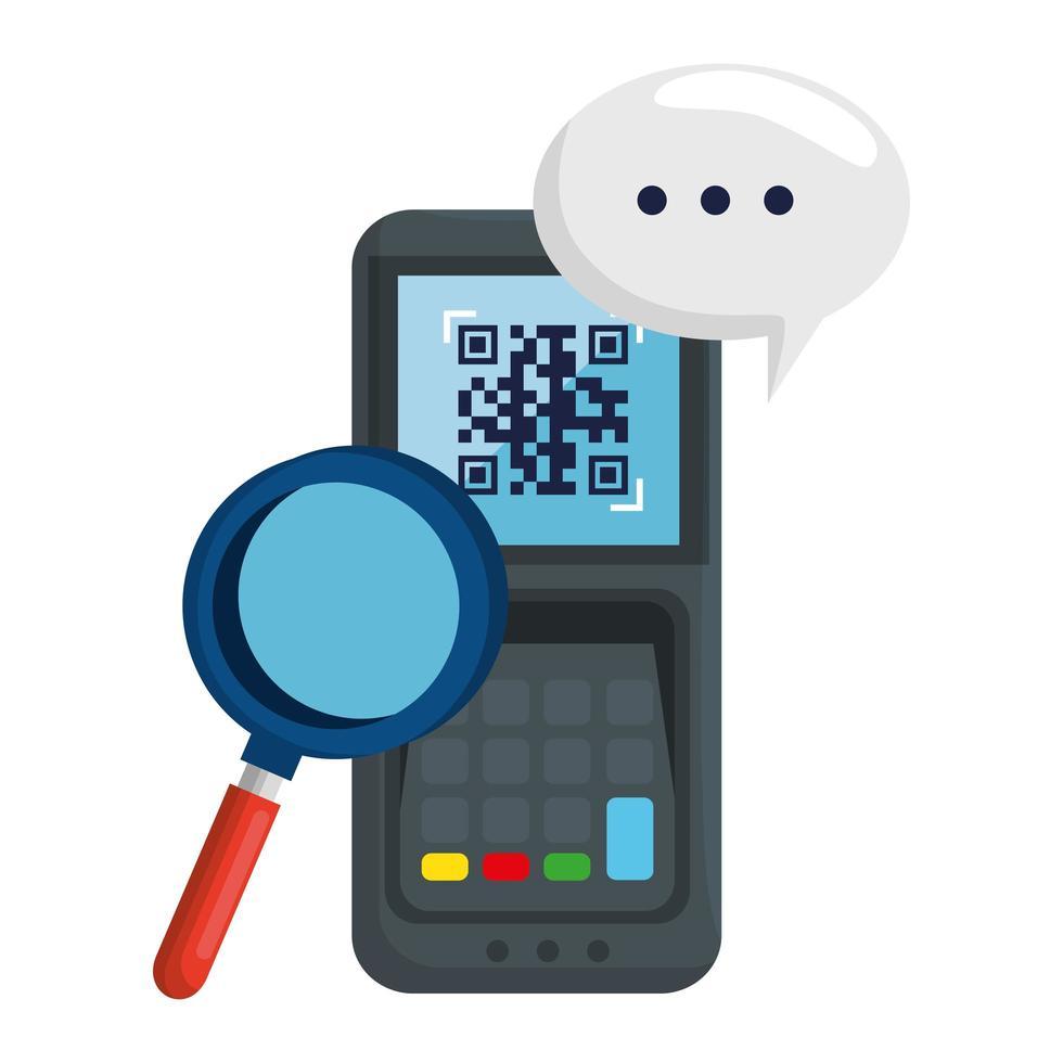 QR-Code im Dataphon Lupe und Bubble Vector Design
