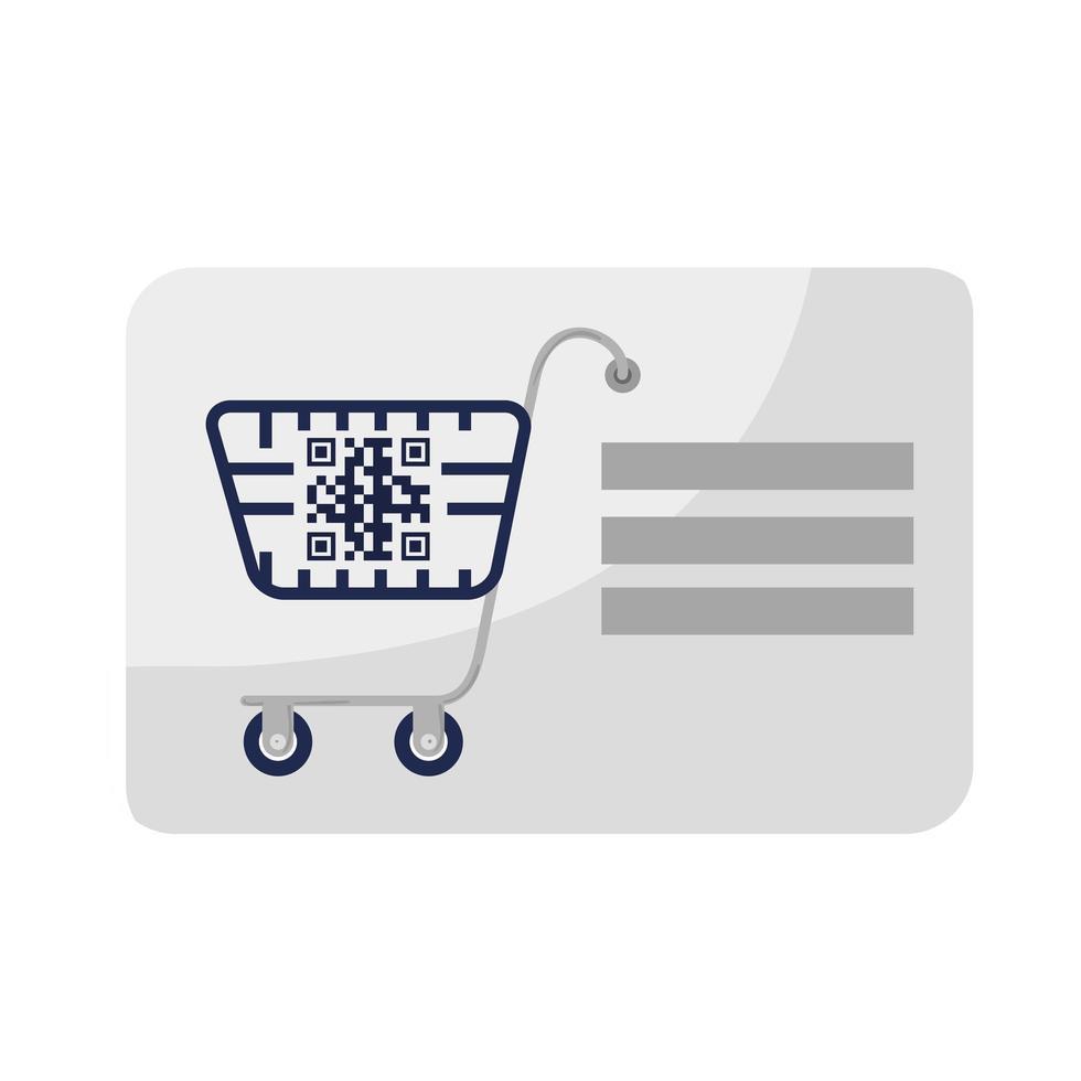 Barcode im Einkaufswagen und Quittungspapiervektorentwurf vektor