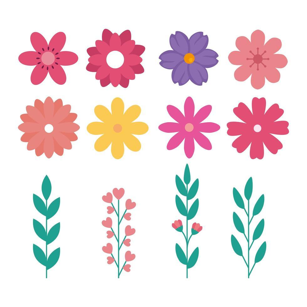 Satz von niedlichen Blumen mit Zweigen und Blättern natürlich vektor