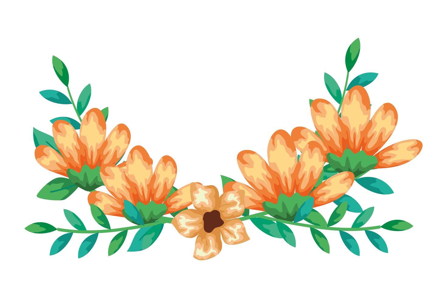 gelbe Farbe der niedlichen Blumen mit Zweigen und Blättern isolierte Ikone vektor