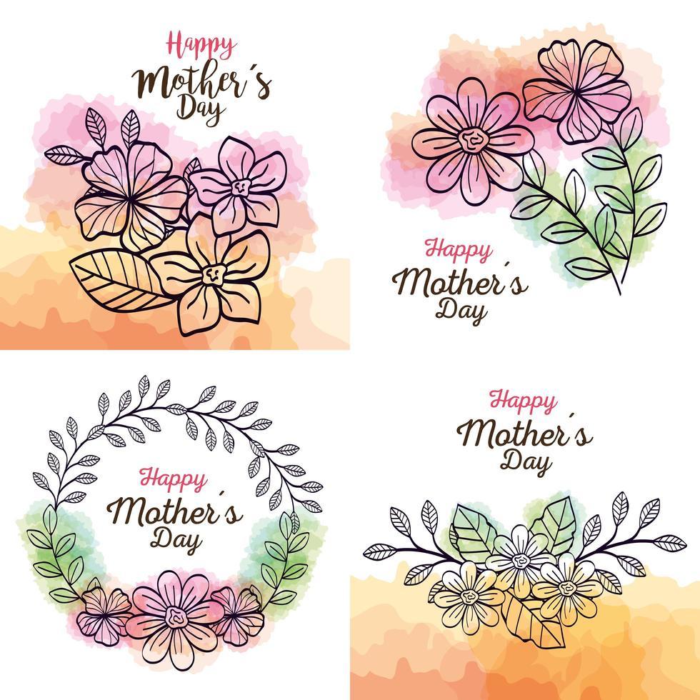 Karten des glücklichen Muttertags mit Blumendekoration setzen vektor